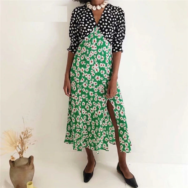 Long Dress V Neck Dot Floral Patchwork Print women CODE: KAR365
