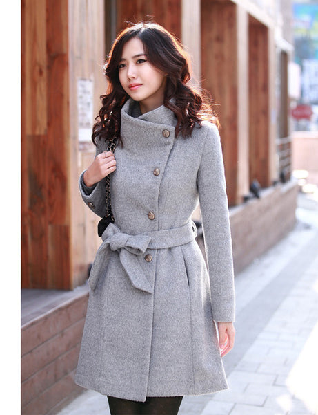 New Medium-length Woolen Overcoat Self-improvemnt and Collar-erecting CODE: KAR371