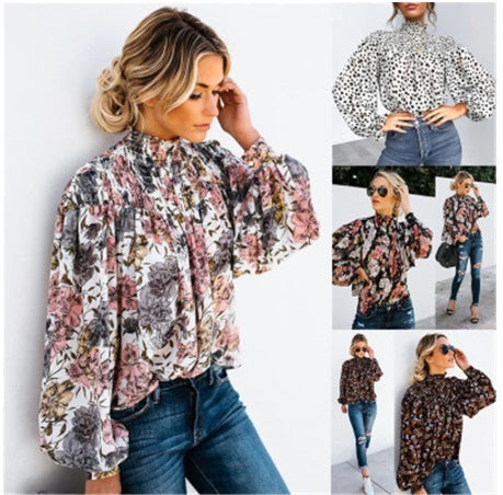 Casual Retro Printed Pleated Ladies Shirts Long Sleeve Tee Tops CODE: KAR377