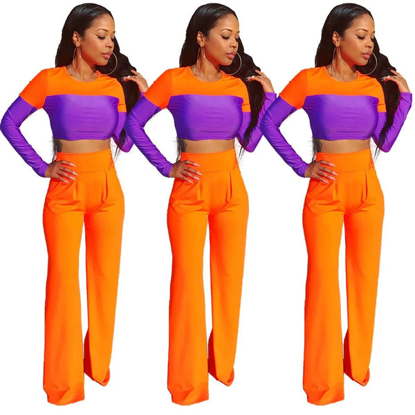 Long Sleeve Crop Top and Flare Pant Sexy Fall Outfits Two Piece Matching Sets CODE: KAR395