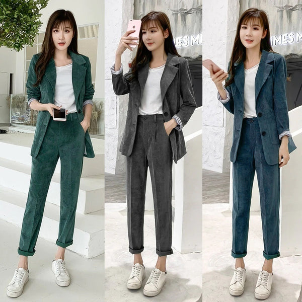 Women's Corduroy Blazer Two Piece Sets England Style Casual Jacket Loose CODE: KAR402