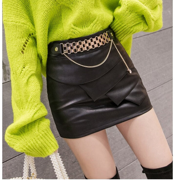 Women High Waist Leather Skirt Female Streetwear Slim Fit Fold Chain Metal  CODE: KAR405