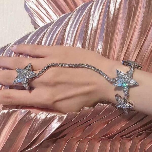 Rhinestone Star Charms Sexy Hand Chain For Women Fashion Jewelry CODE: KAR409