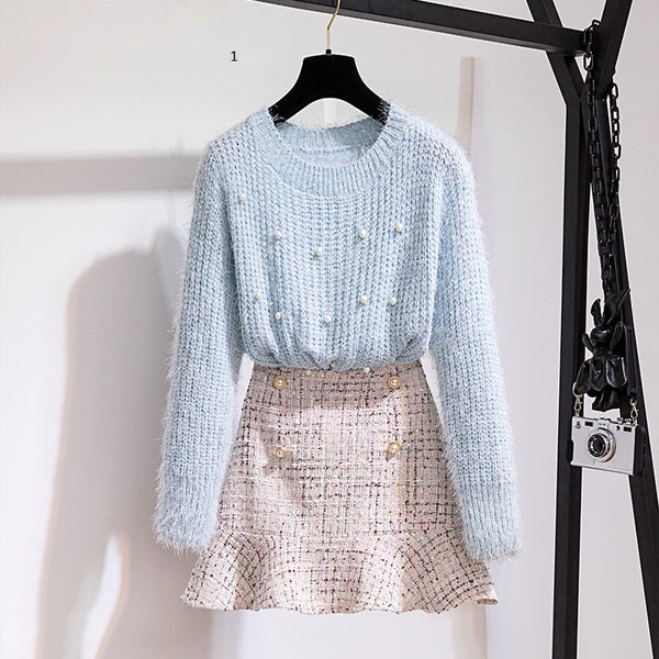 Long Sleeve Beading pullover Knitting Sweater Top + tweed Mermaid MidiSkirt 2 Piece Sets CODE: KAR419