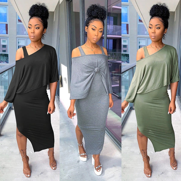 Sexy 2 pcs Women Set 3 Color Solid O-Neck Short Tops And Maxi Dress CODE: KAR437