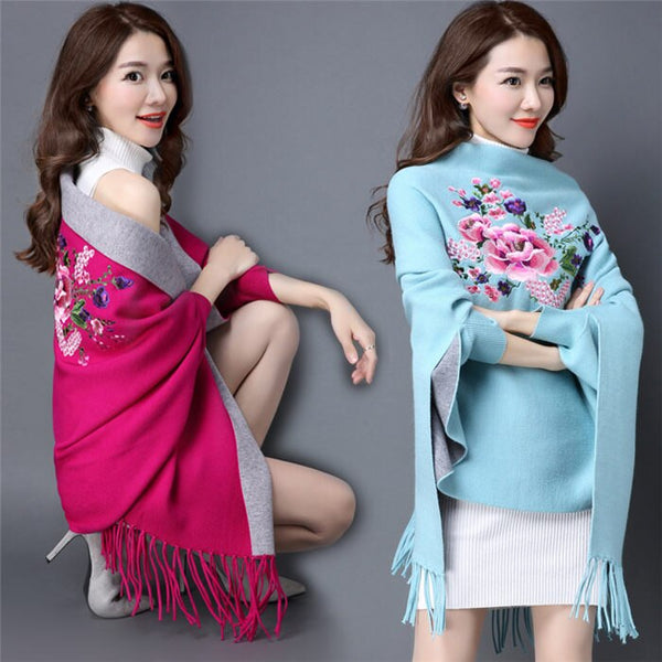 Floral Tassel Cloak Long Sleeve Female Knit Cardigan Sweater CODE: KAR451