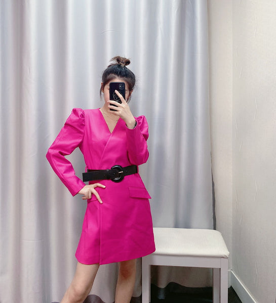 New Fashion Belt Hot Pink Color Feminino Vestidos Modern Lady Popular CODE: KAR463