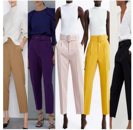 Belts Trousers Modern Lady Casual Pant Bottom CODE: KAR464