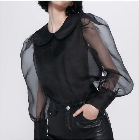 Long Puff Sleeve Sunscreen Tops Modern Lady Transparent Organza Shirts CODE: KAR465