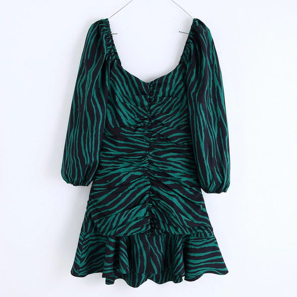 Animal Skin Zebra Stripe Print Feminino Vestidos Long Sleev Lady Dressese CODE: KAR468