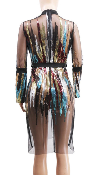 neck zipper sequins decoration perspective mini short dresses CODE: KAR479