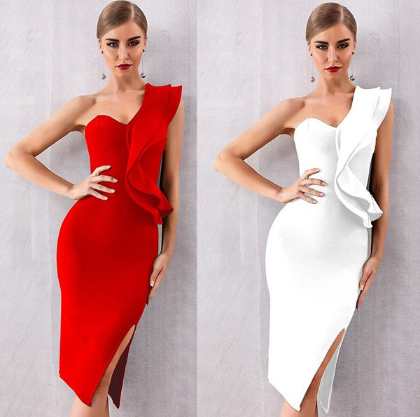 One shoulder dress Ruffle Solid color Female bodycon Dresses CODE: KAR483