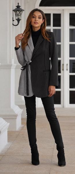 Stripe Color Matching Lacing Slim Fit NewSuit Collar Long Sleeve Jackets CODE:KAR499