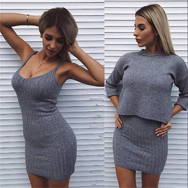 2 Pieces Set Sweater Dress winter clothes women Wear Casual Pullover Knitted Dresses CODE: KAR500