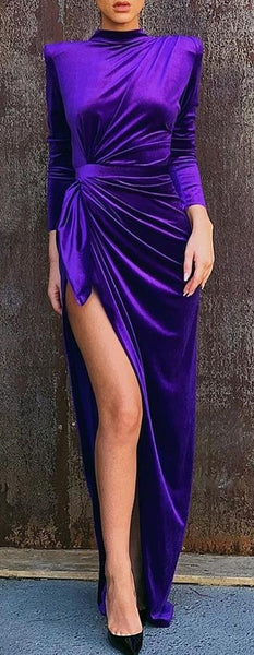 Solid Mock Neck Long Sleeve High Slit Ruched Dress Women Maxi Long CODE: KAR507