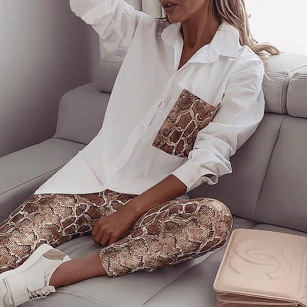 Snake Contrast Pocket Top & Pants Design Pant 2 Piece Set Women In stock CODE: KAR510