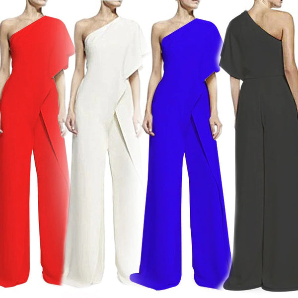 Hot Ruffles irregular Female Overalls Sexy Wide leg Jumpsuits CODE: KAR527