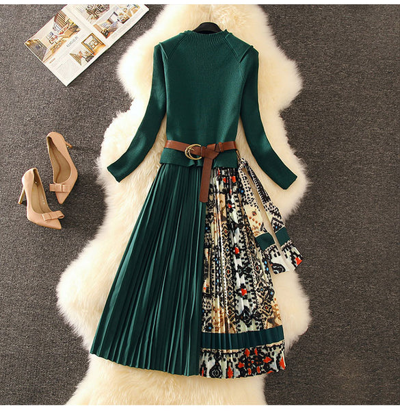 Winter Fashion Vintage Print Sweater Long Dress Design Women High CODE: KAR535