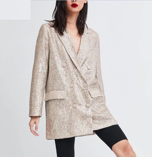Sequined Blazer Feminino Shining Pockets Long Sleeve Outerwear CODE: KAR539