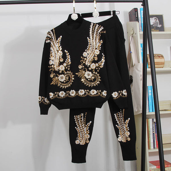 2 Piece Set Women Beading Embroidery Knitted Sets Sweater CODE: KAR541