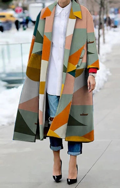 Women's coat color long-sleeved windbreaker geometric print coat CODE: KAR559