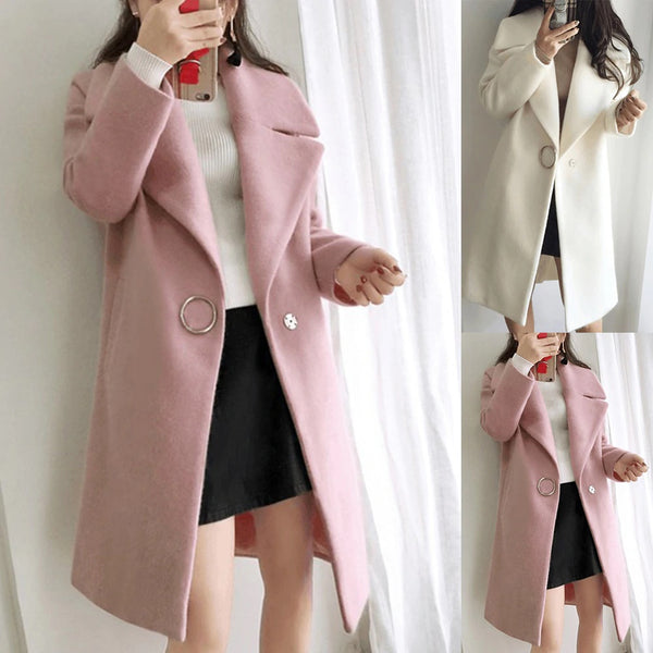 Loose Warm Wool Blends Long Winter Coat Turn-down Collar  CODE: KAR563