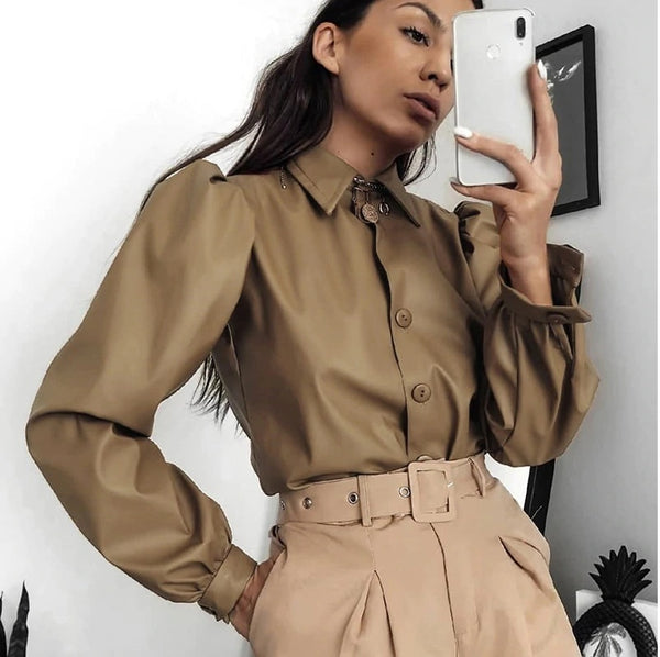 Puff Sleeve Faux PU Leather Blouse Shirt Solid Buttons Crop Top CODE: KAR565