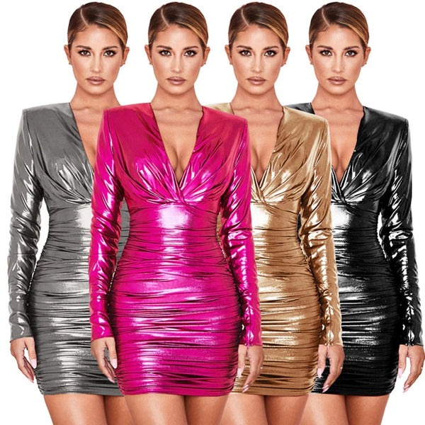 Women's Sexy Deep V-neck Wrinkled Pleated Zipper Leather Dress CODE: KAR580
