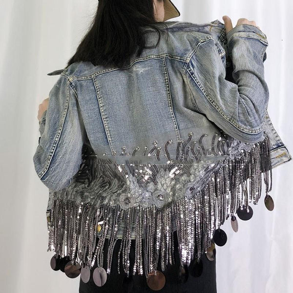 Embroidery Tassel Sequin Denim Jackets Long Sleeve Denim  CODE: KAR583