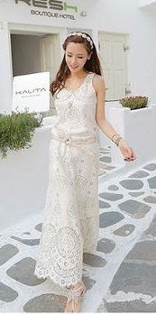 Dress O Neck Sleeveless Casual Elegant Lace Dress Hollow Out Patchwork CODE: KAR584