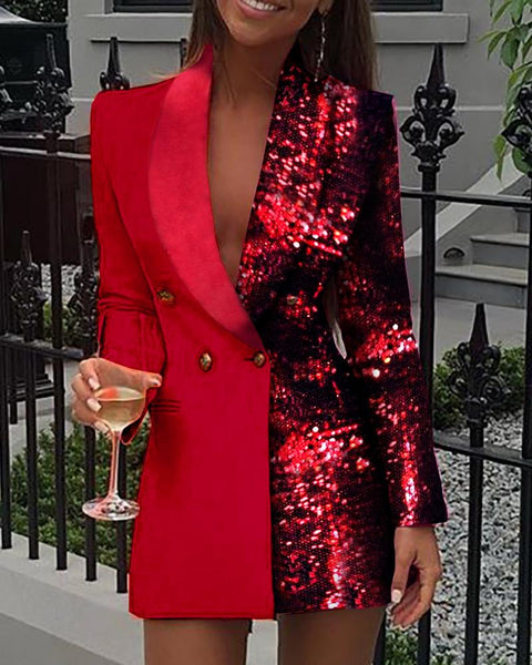 Long Sleeve Blazer Dress Women Sexy Deep V Neck Mini Party CODE: KAR589