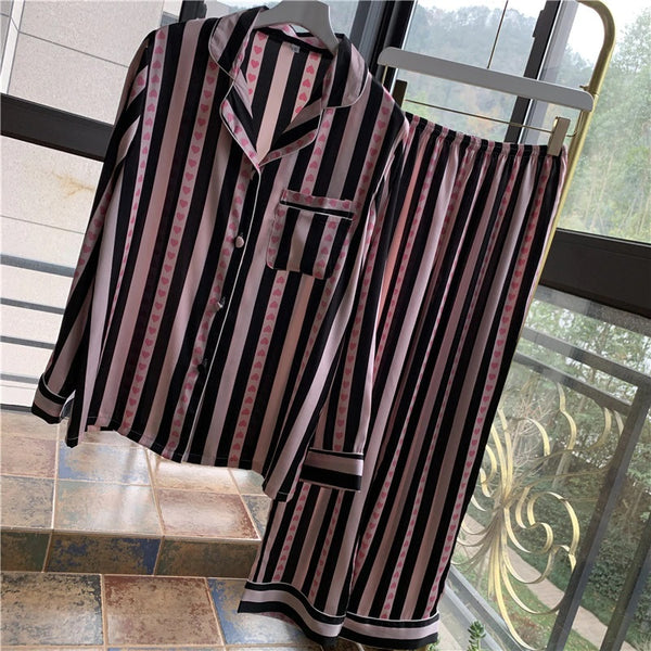 Woman Long Sleeve Sweet Stripe Pajamas Satin Soft Pajama Set CODE: KAR594