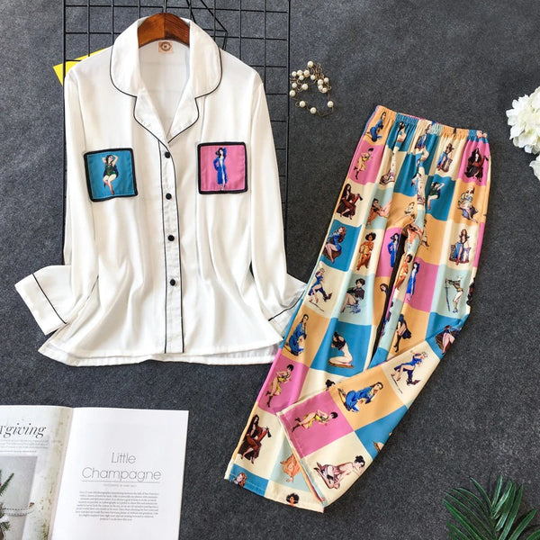 Pajama Set Woman Korean Sweet Lovely Rayon Long Sleeve CODE: KAR595