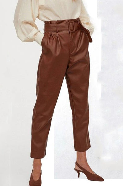 Pants High Waist Plus Size Trousers Fur PU Leather Pants CODE: KAR608