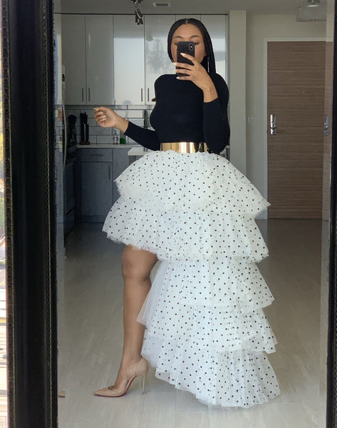 Skirt Irregular Polka Dot High Elastic Waist Women Dinner CODE: KAR624