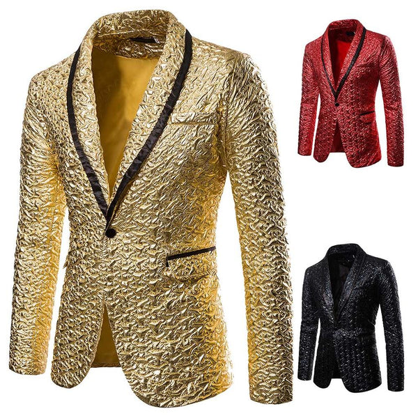 Mens Coat Single Breasted One Button Suit Blazer Luxury Floral Print Suit Jacket CODE: KAR634