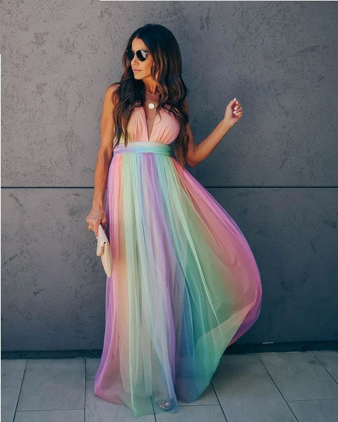 Rainbow Color Spaghetto Strap Summer Beach Ruche Maxi Dress CODE: KAR643