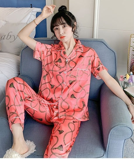Pajamas Set Lapel Women  Cute Cartoon Sleepwear Long Sleeves Night suit CODE: KAR650