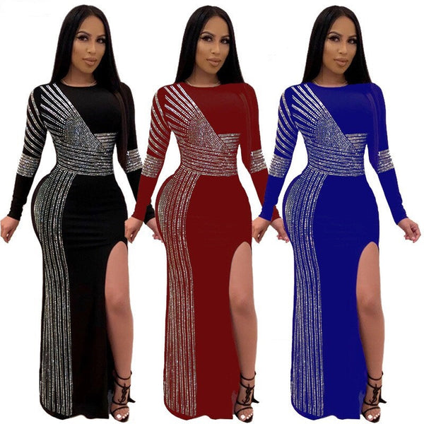 New Style Red Black Diamond Long Sleeves Bodycon Daily Dress CODE: KAR668