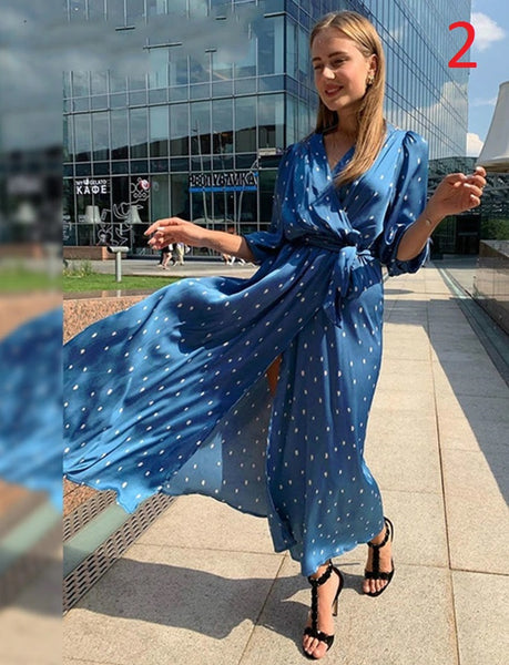 V-Neck Polka Dot Half Sleeve Splite High Waist Long Dress CODE: KAR686