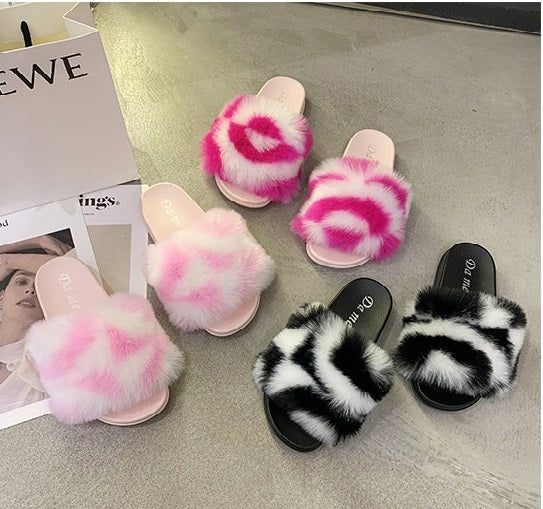 Fur Slippers Women Home Fluffy Sliders Comfort Furry Summer Flats CODE: KAR697