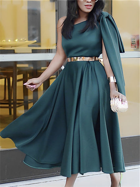 One Shoulder with Big Bow tie A Line Pleated Flare Party Celebrate CODE: KAR708