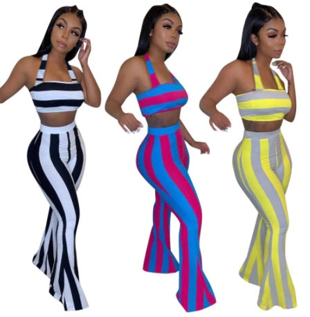 Striped Print Two Piece Set Top and Flare Pants CODE: KAR752