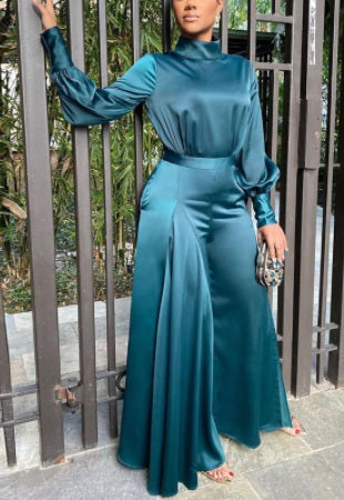 Long Sleeve Tunic Jumpsuit Classy Wide Leg Overalls CODE: KAR754