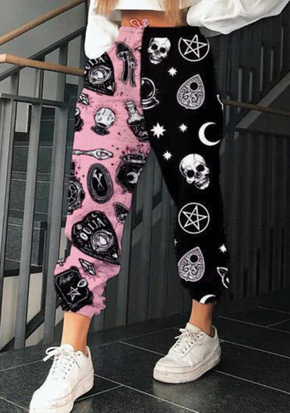 Print Patchwork Pants Autumn Elastic Waist Pocket CODE: KAR757