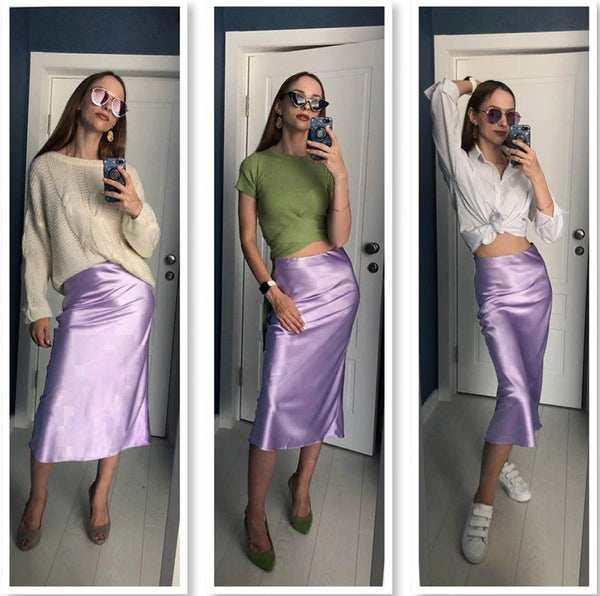 Solid Purple Satin Silk Skirt Women CODE: KAR771
