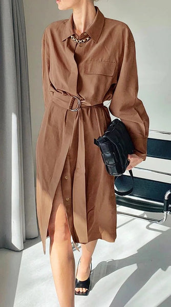 Vintage Sashes Shirt Dress Women Long Sleeve  CODE: KAR772
