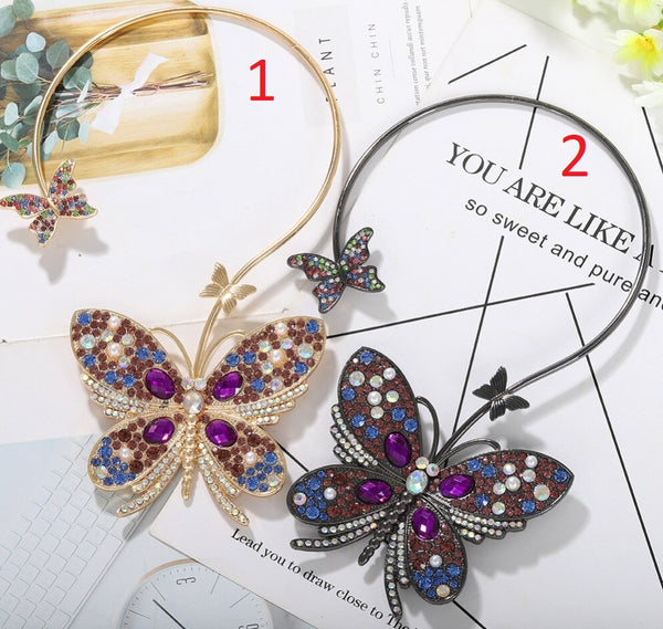 Colorful Crystal Butterfly Pendant Necklace CODE: KAR797