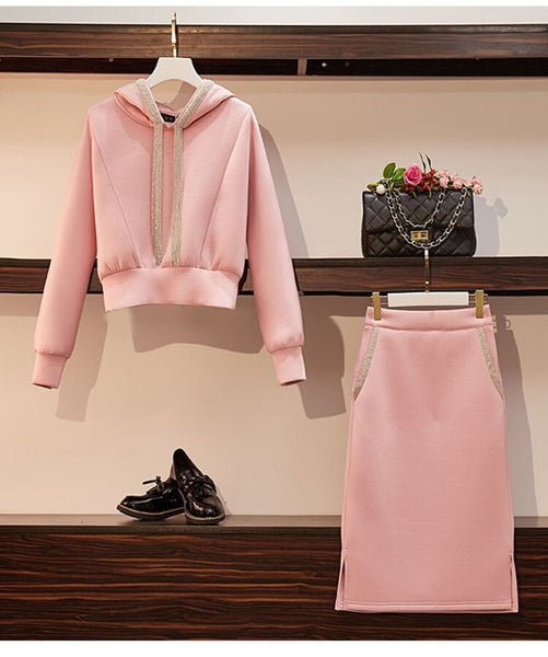 Sets Autumn Winter Sweater Hoody A-Line Sweater Skirt CODE: KAR809
