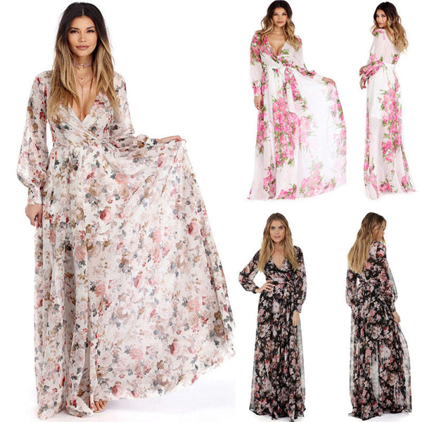 Women Boho Long Maxi Floral Summer Dress Floral CODE: KAR814